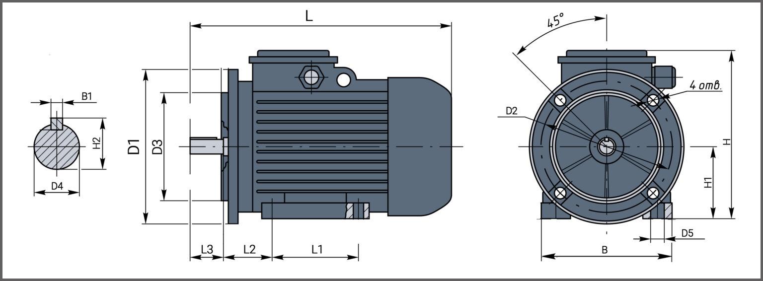 Чертеж электродвигателя АИР 315М4 на фланце