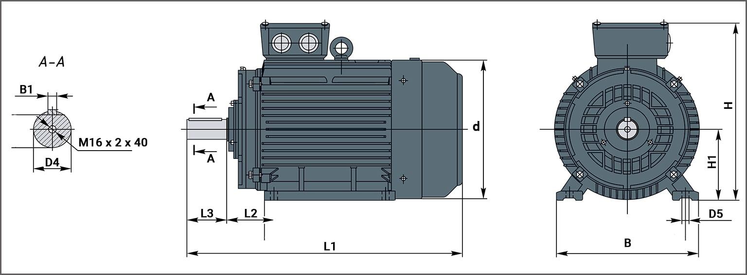 Чертеж электродвигателя АИР315М4 на лапах