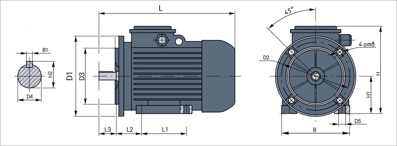 Чертеж электродвигателя 5,5квт на фланце