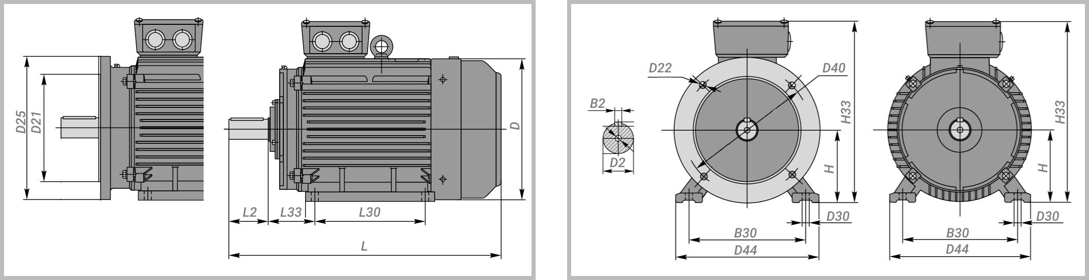 Чертеж электродвигателя двигатель 4АМ200L8 на лапах, на фланце